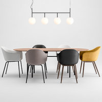 Harbor Chair Upholstery + Snaregade Table + Tr Bulb By Menu