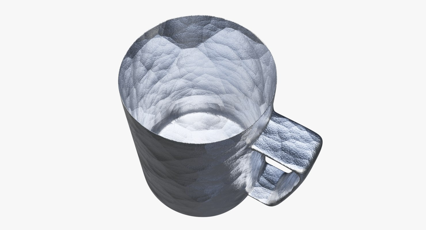 cup tinted beaten silver 3D model