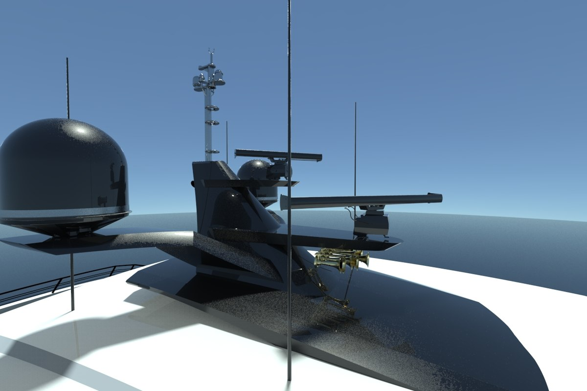 3D mast domes horns radars model