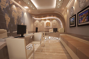 3D travel agency office autocad drawings