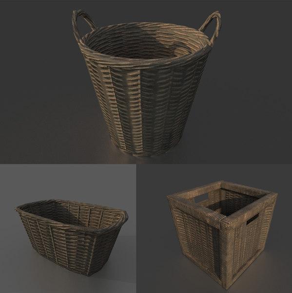 wicker basket set 3D model