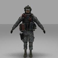 3D soldier people