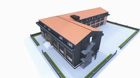 3D school building interior model