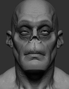 zombie head zbrush 3D