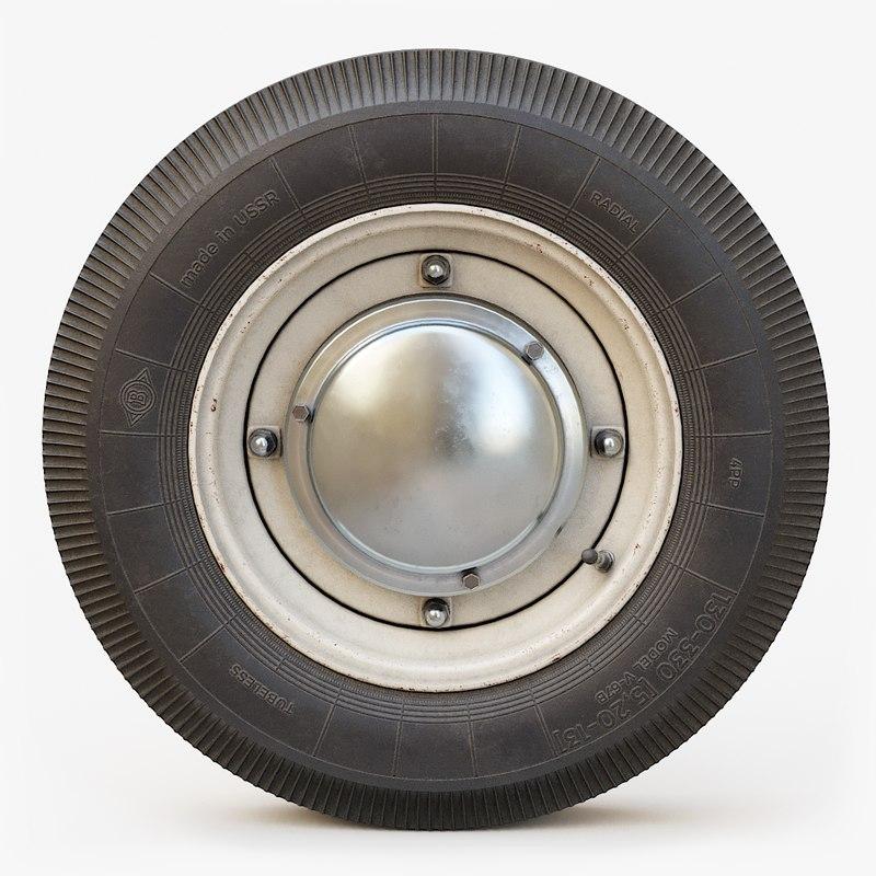3D classic car wheel pbr