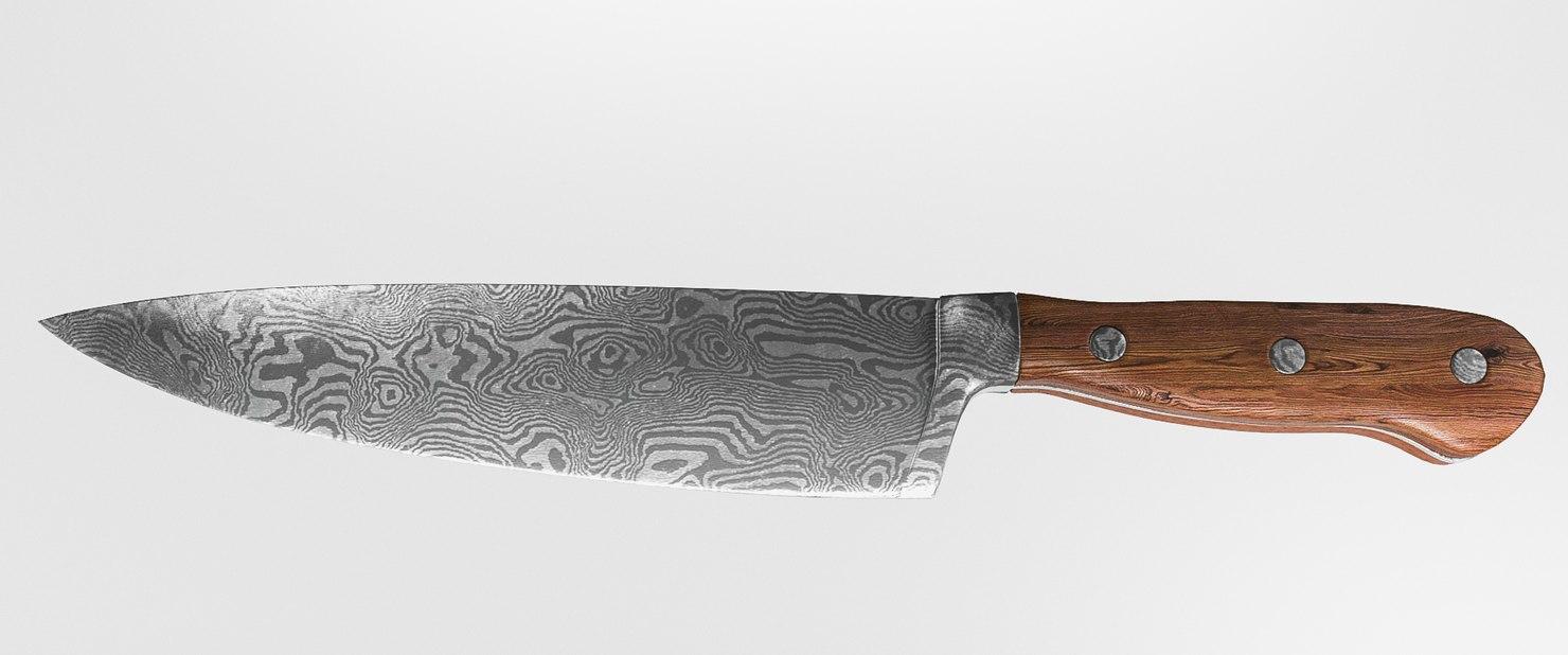 3D model chef knife damascus
