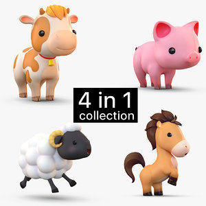 3D cartoon farm animals pack