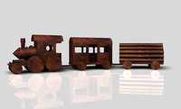 Wooden toy train on a neutral background