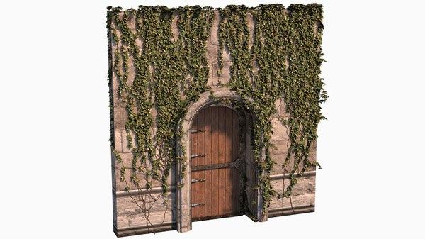 medieval door covered ivy 3D model