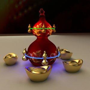 3D model chinese gold ingot gourd