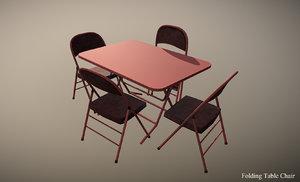 3D folding table chair