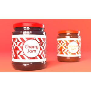 jam jar cherries apricot model