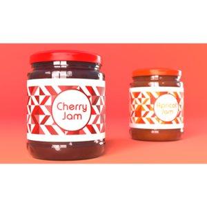 jam jar cherries apricot model