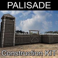 wooden palisade kit 3D model