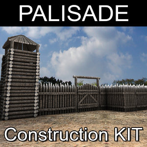 wooden palisade kit 3D model