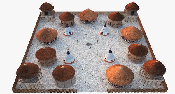 3D african village
