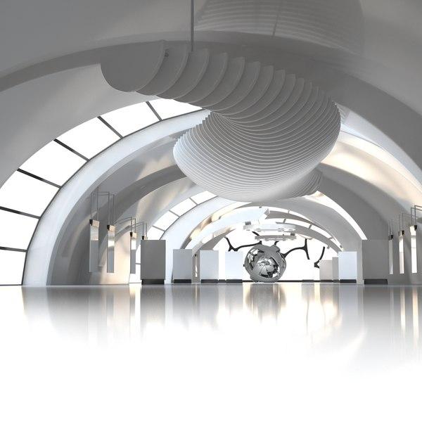modern art gallery interior 3D