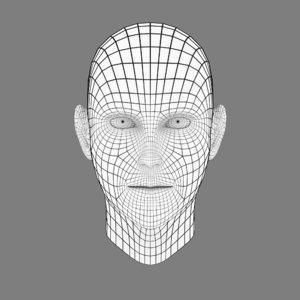 3D head base mesh realistic