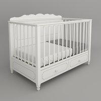 3D children bed white model