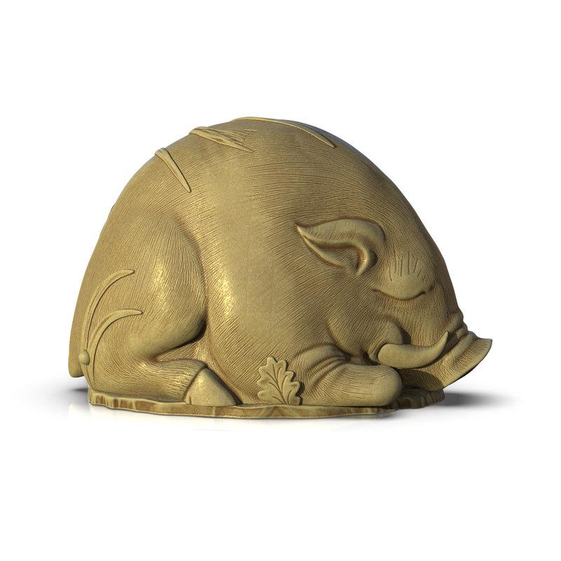 3D netsuke sleeping pig grass