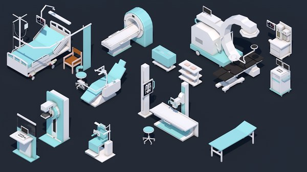 3D - equipment set hospital model