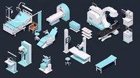 3D - equipment set hospital model