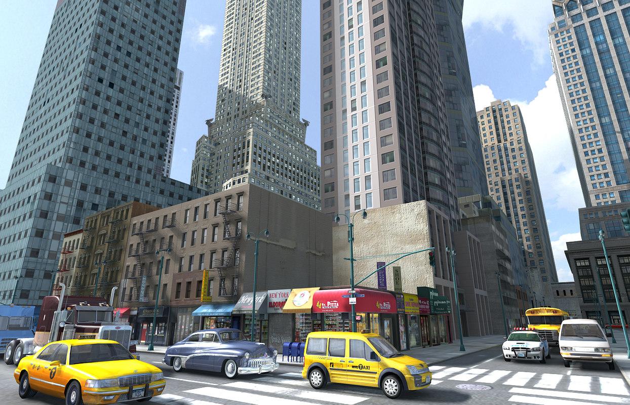 new york midtown city blocks 3D model