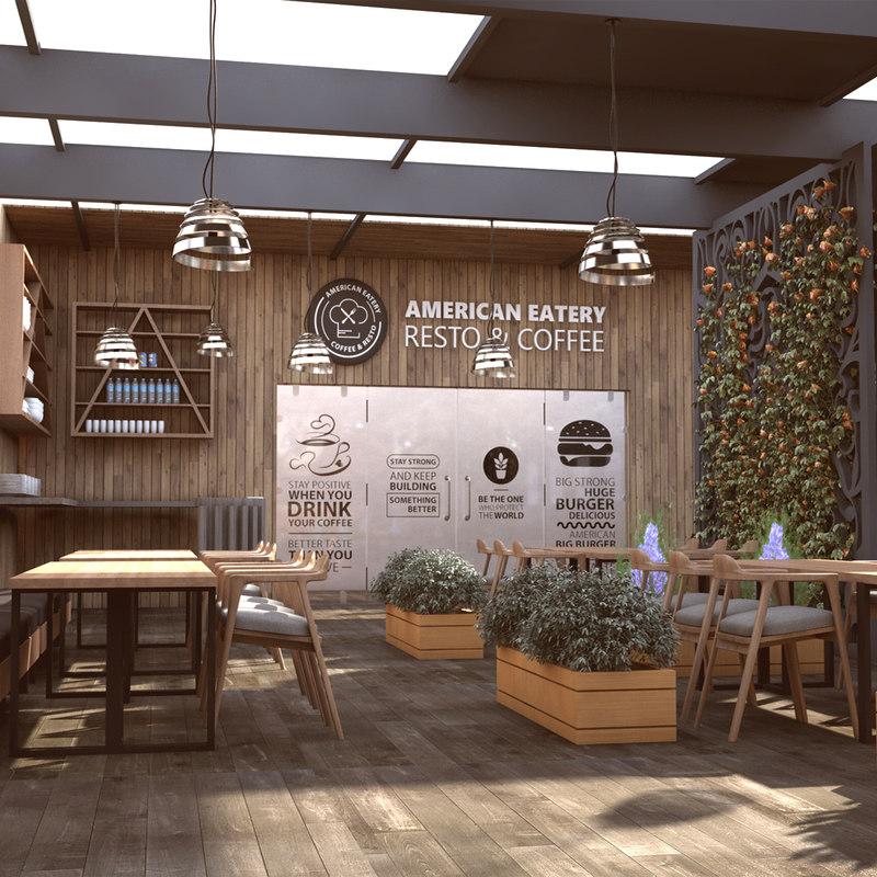 3D model modern interior design coffee