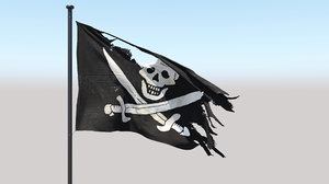 3D photoreal pirate flag