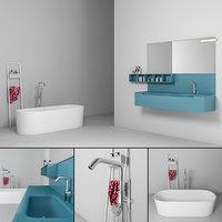 bathroom furniture set gold 3D