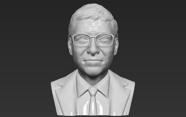 3D model bill gates bust ready