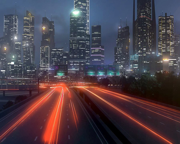 3D freeway city environment road