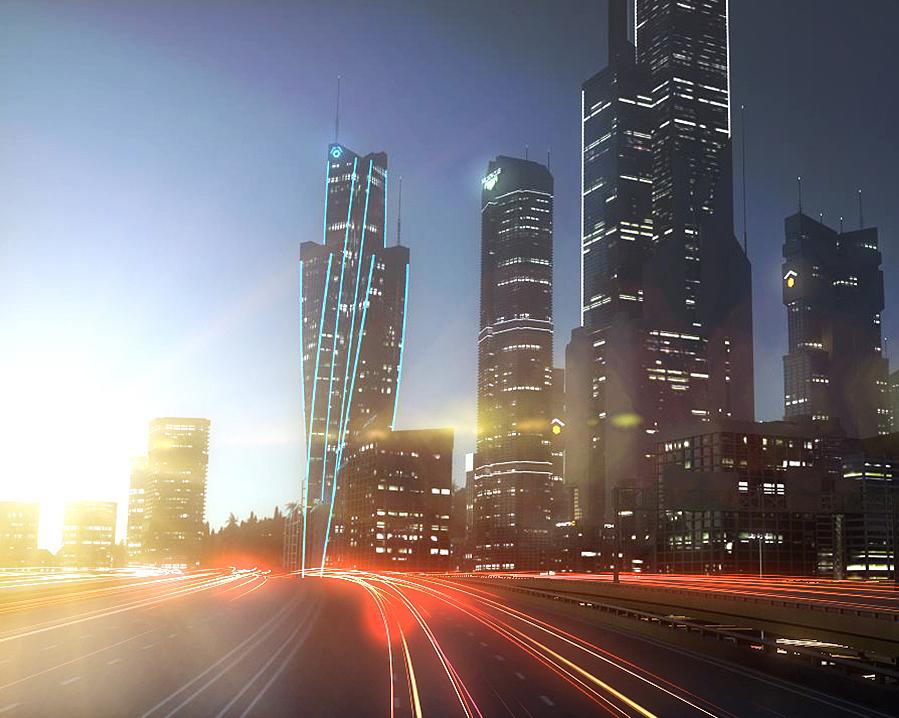 freeway city environment road 3D model