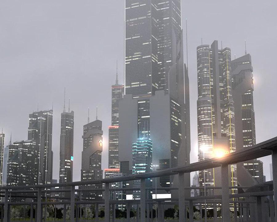 3D model freeway city sky buildings