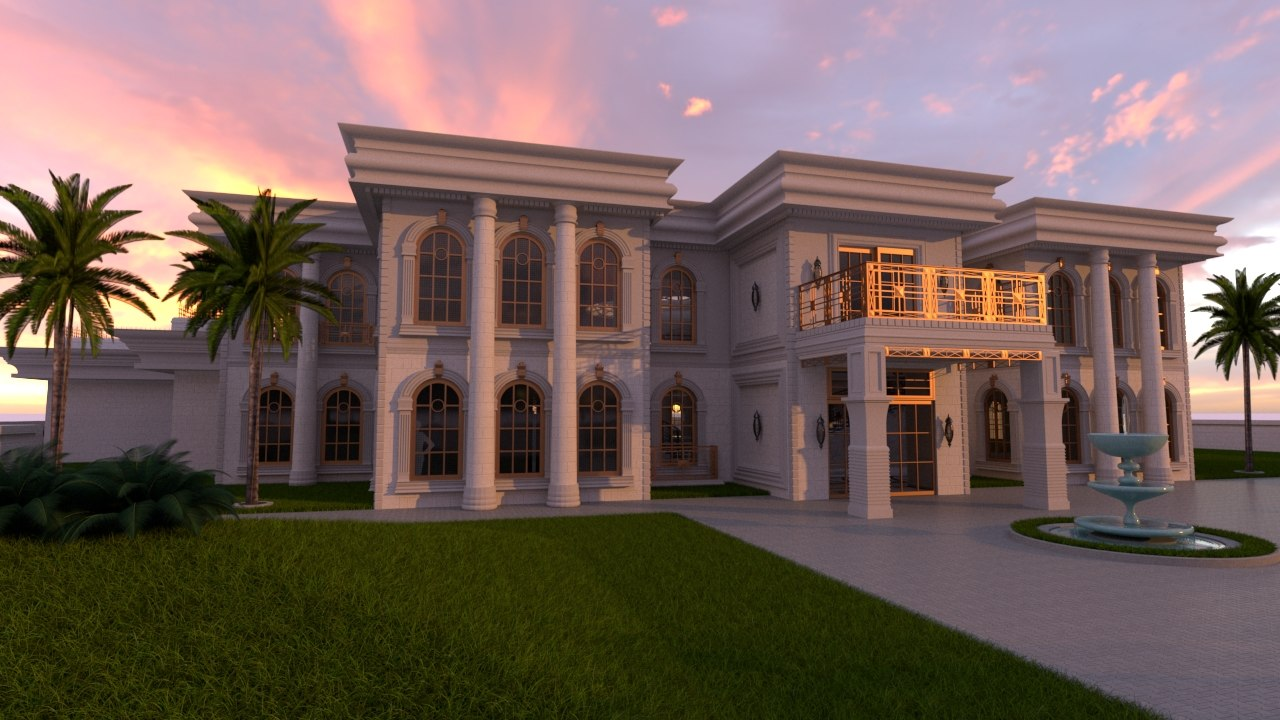 3D classic mansion la model