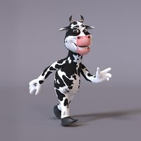 3D model stylized humanoid cow