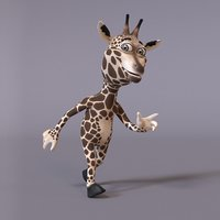 3D stylized humanoid giraffe model