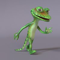 stylized humanoid lizard 3D model