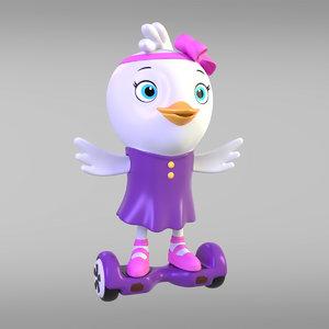 cartoon girl chicken animations 3D model