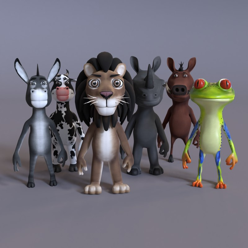 stylized humanoid animals 3D model