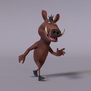 3D model stylized humanoid warthog