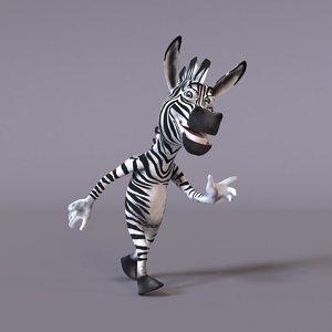 stylized humanoid zebra 3D model
