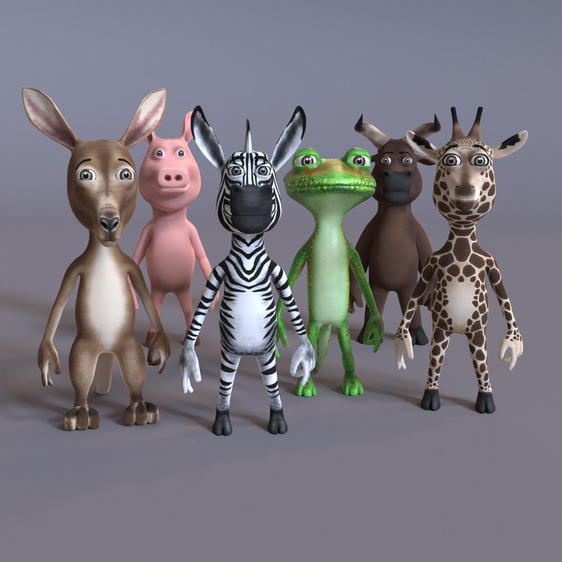 3D model stylized humanoid animals