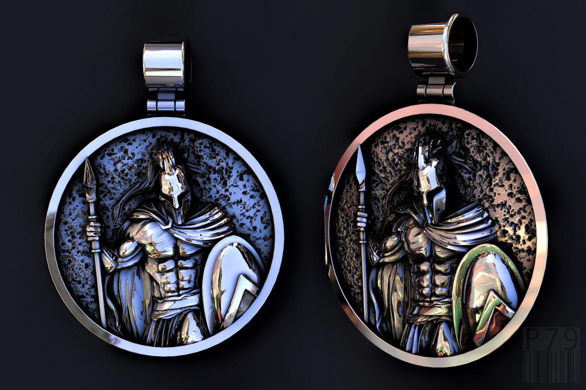 3D silver jewellery pendant king