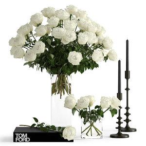 3D model realistic roses decor flowers