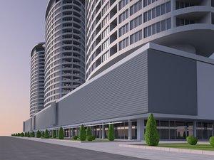 apartments building city 3D model