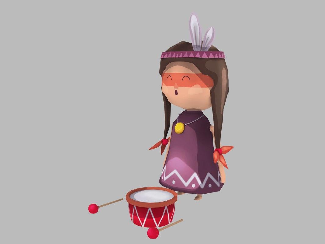 stylized little girl indian 3D model