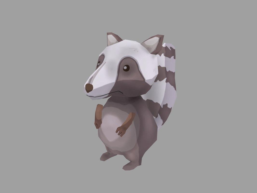 3D raccoon animal mammal model