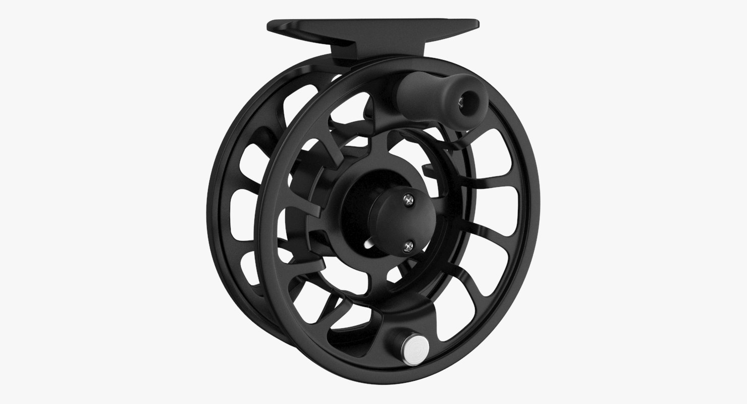 3D model fly reel black