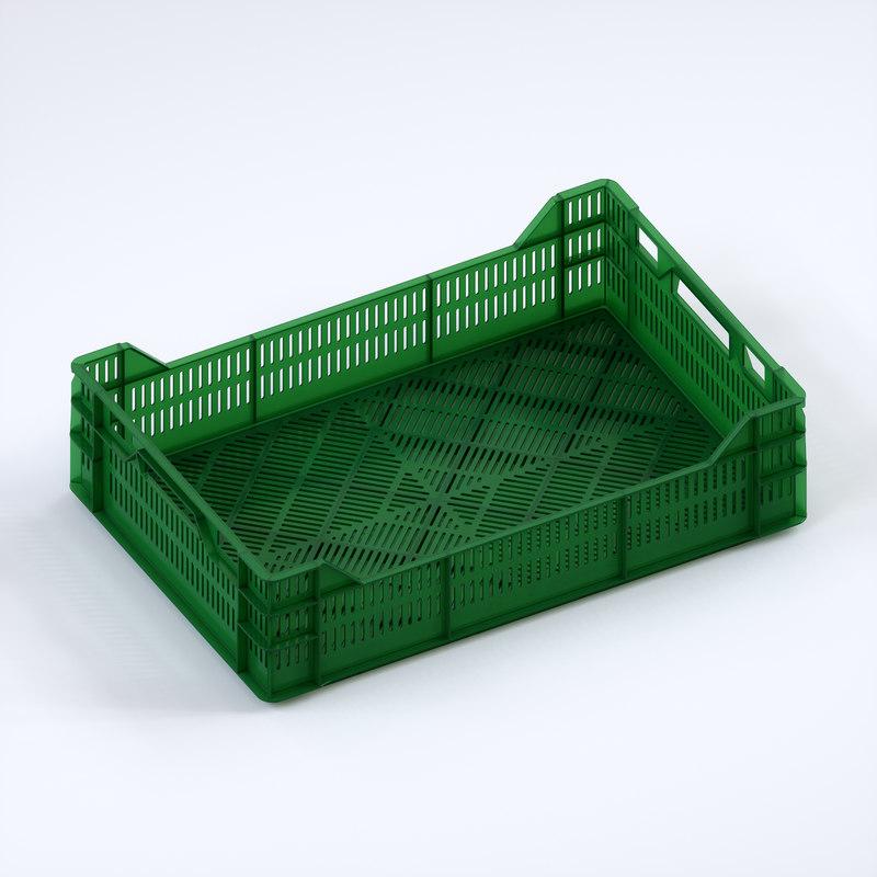 3D plastic crate 600x400x160 model